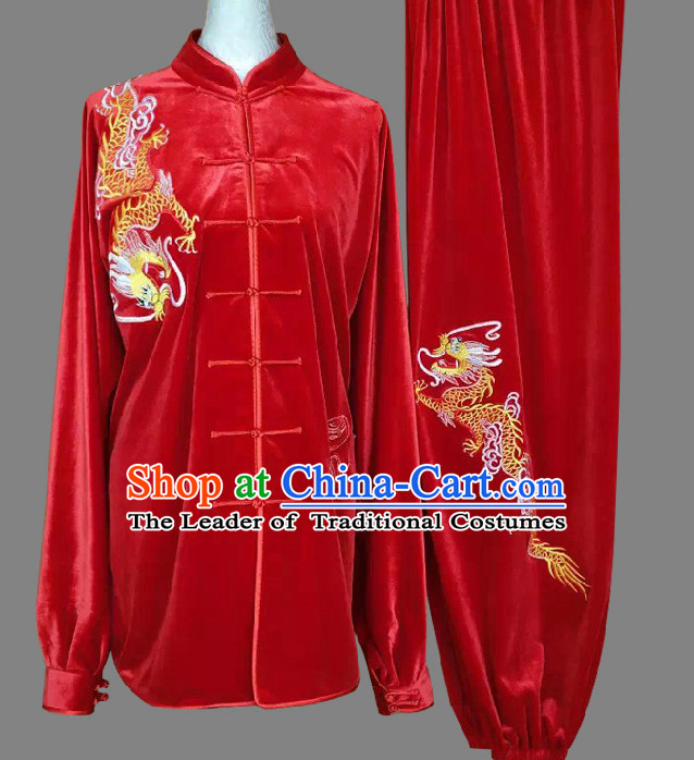Top Embroidered Dragon Wing Chun Uniform Martial Arts Supplies Supply Karate Gear Tai Chi Uniforms Clothing for Women or Men