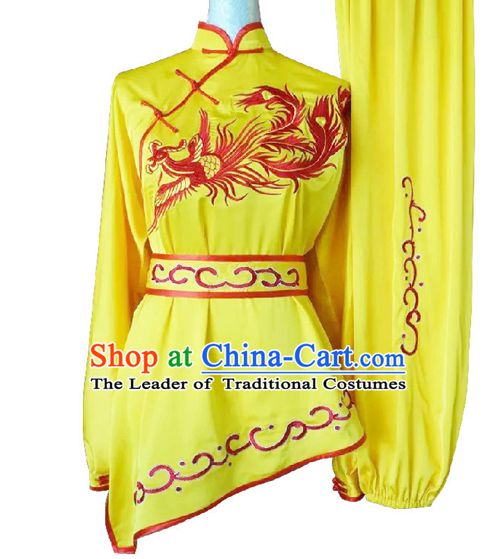 Top Long Sleeves Embroidered Phoenix Wing Chun Uniform Martial Arts Supplies Supply Karate Gear Tai Chi Uniforms Clothing for Women and Girls