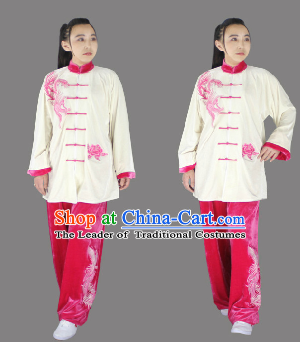 Top Long Sleeves Embroidered Phoenix Tai Chi Wing Chun Uniform Martial Arts Supplies Supply Karate Gear Martial Arts Uniforms Clothing for Men or Women