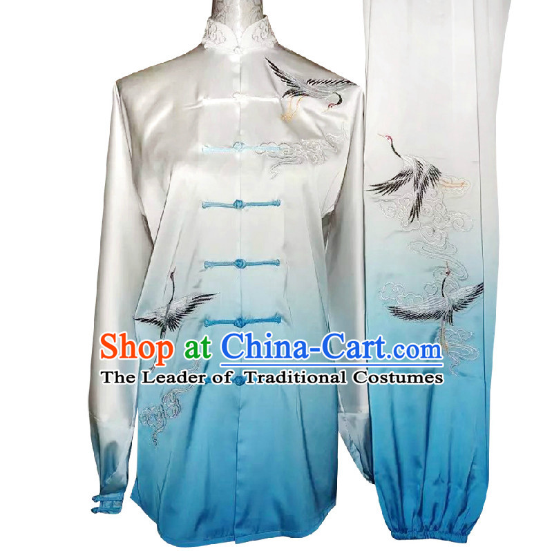 Top Color Transition Auspicious Cranes Kung Fu Martial Arts Taekwondo Karate Uniform Suppliers Clothing Dress Costumes Clothes for Adults and Kids