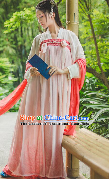 Chinese Tang Dynasty Princess Dress Clothing and Hair Jewelry Complete Set for Women and Girls