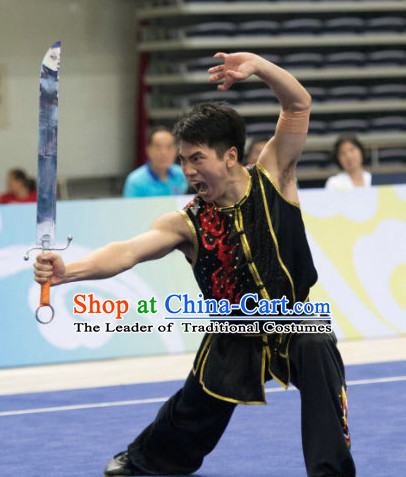 Top Kungfu Broadsword Competition Outfit Wushu Contest Jacket Pants Supplies Custom Kung Fu Costume Wu Shu Clothing Martial Arts Costumes for Men Women Kids Boys Girls