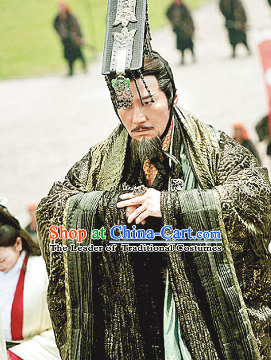 Ancient Chinese Han Dynasty Emperor Clothing and Crown Complete Set for Men