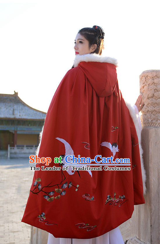 Ancient Chinese Princess Queen Embroidered Cranes and Plum Blossom Mantle Cape