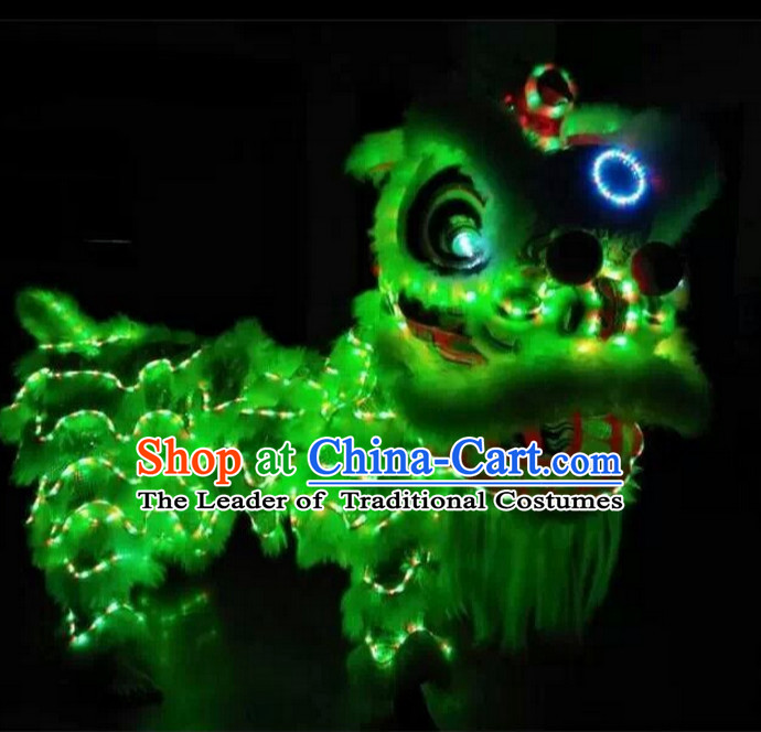 Green Top Supreme LED Lights Lion Dance Costumes Complete Set
