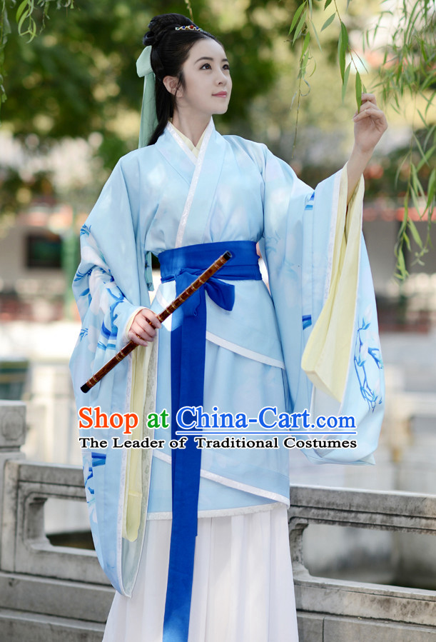 Han Dynasty Ancient Chinese Hanfu Garment Complete Set for Women and Girls
