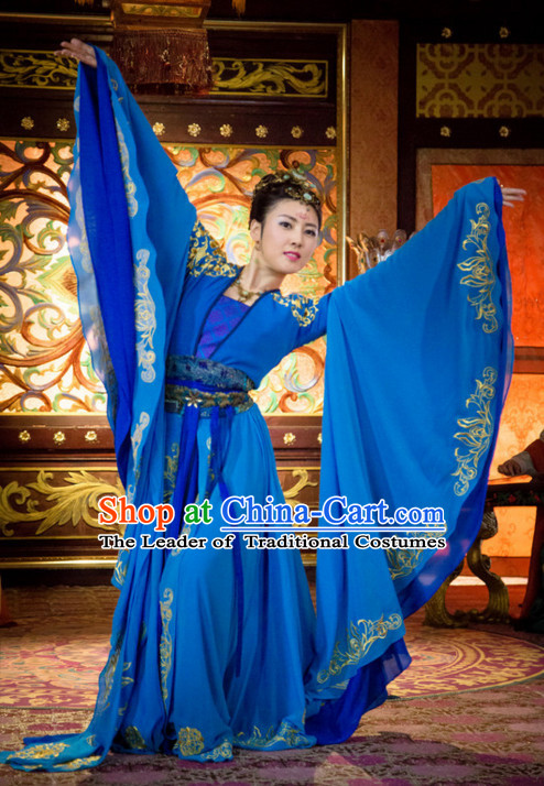 Chinese Classic Dance Costume Ancient Chinese Costumes Japanese Korean Asian Fashion Han Dynasty Princess Han Fu Suits Outfits Garment Dress Clothes and Hair Jewelry for Women