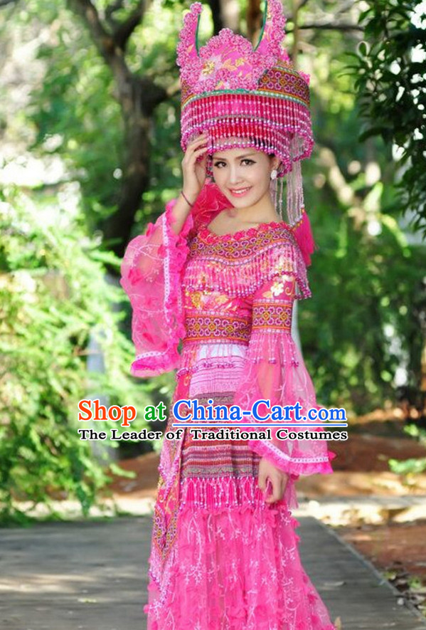 Traditional Chinese Miao Tribe Clothing Suits Garment Outfits and Hat Complete Set for Women or Girls