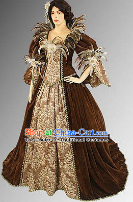 Traditional Medieval Costume Renaissance Costumes Historic Empress Queen Princess Clothing Complete Set for Women
