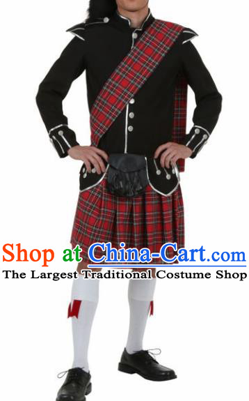 Traditional Scottish Skirt Dress British National Costumes Complete Set for Men