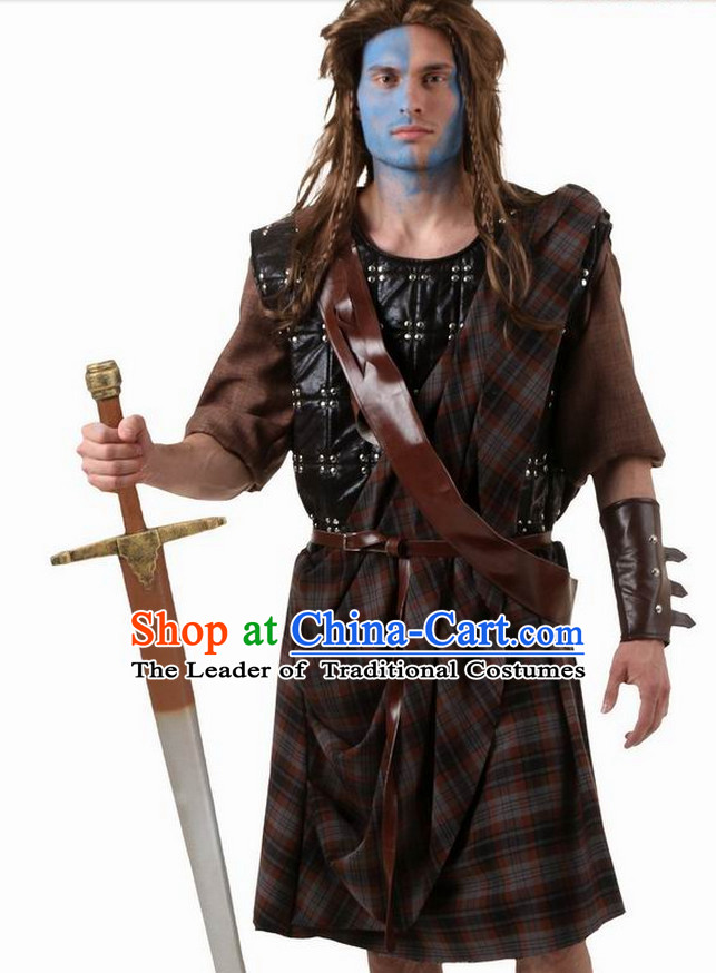 Ancient Medieval Superhero Brave Heart Costumes Kids Adults Halloween Costume for Men and Boys