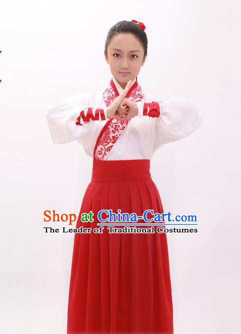 Asian Ancient Costume Chinese Han Dynasty Clothing and Hair Accessories Clothing Complete Set for Women