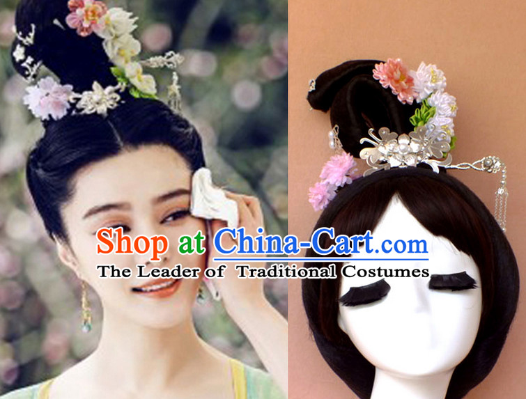 Chinese Ancient Princess Black Wigs Hair Accessories Hair Jewelry Fascinators Headbands Hair Clips Bands Bridal Comb Pieces Barrettes