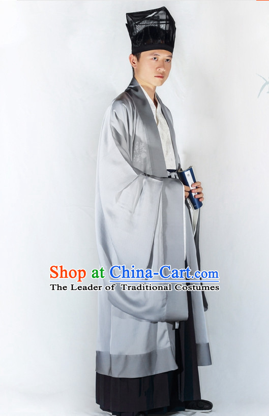 Chinese Classic Han Dynasty Clothing and Hat Complete Set for Men
