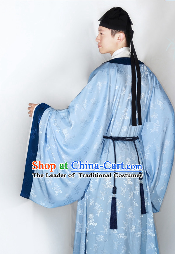 Chinese Classic Song Dynasty Clothing and Hat Complete Set for Men