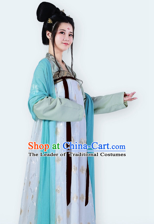 Chinese Ancient Tang Dynasty Clothing and Hair Accessories Complete Set for Women