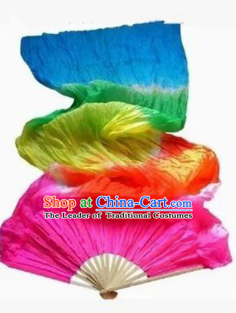 Rainbow 1.5 Meters Imitation Silk Long Color Change Chinese Dance Belly Dance Hand Fans Hand Fan Japanese Wedding Fans Oriental Fan
