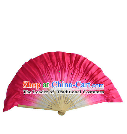 Dark Pink 16 Inches Pure Silk Color Change Chinese Dance Belly Dance Hand Fans Hand Fan Japanese Wedding Fans Oriental Fan