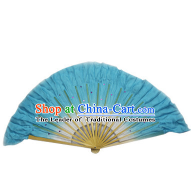 Light Blue 16 Inches Pure Silk Color Change Chinese Dance Belly Dance Hand Fans Hand Fan Japanese Wedding Fans Oriental Fan