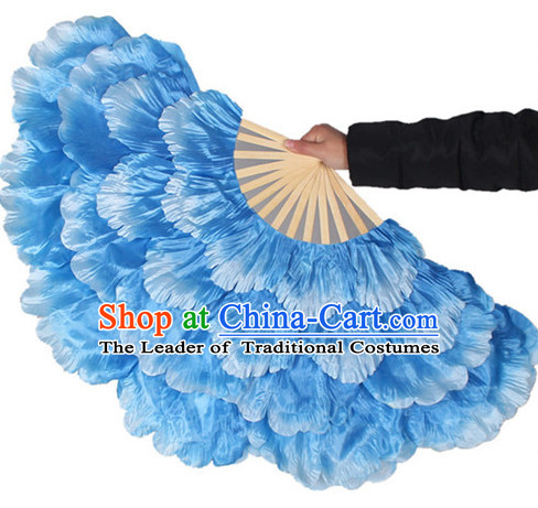 Traditional Blue Peony Flower Dance Hands Fan Hand Fan Stage Performance Parade Korean Japanese Chinese Fan