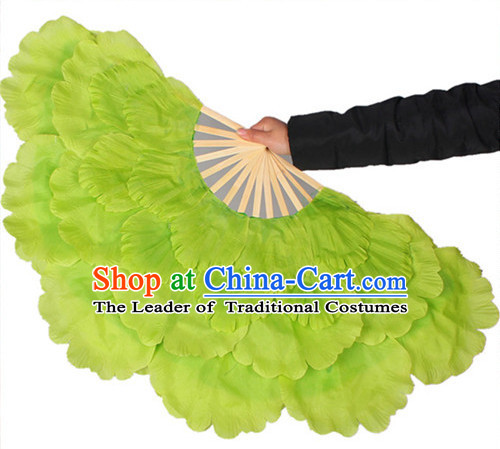 Traditional Green Peony Flower Dance Hands Fan Hand Fan Stage Performance Parade Korean Japanese Chinese Fan