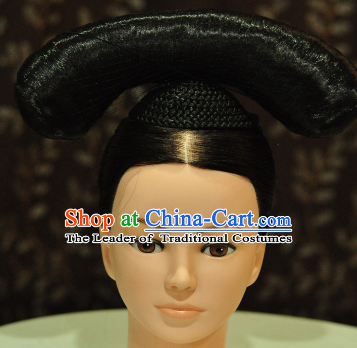 Ancient Chinese Qing Dynasty Wigs Female Wigs Toupee Wig Hair Extensions Sisters Weave Cosplay Wigs Lace for Women