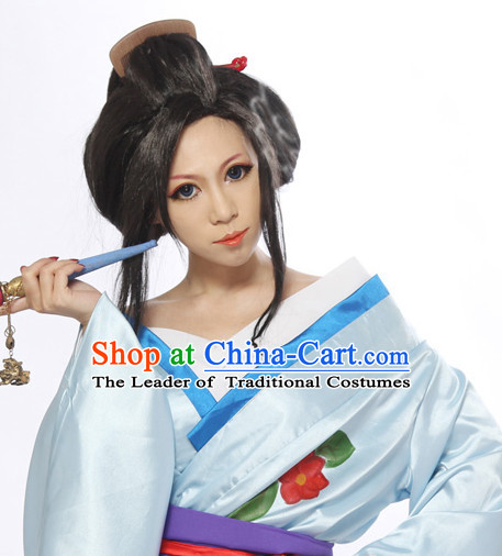 Ancient Japanese Korean Princess Wigs Female Wigs Toupee Wig Hair Extensions Sisters Weave Cosplay Wigs Lace and Hair Jewelry for Women