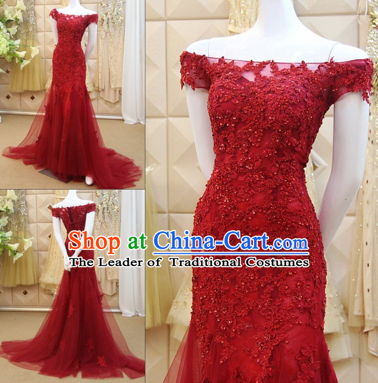 Amazing Chinese Lucky Red Sexy Boat Neck Wedding Evening Dress for Brides