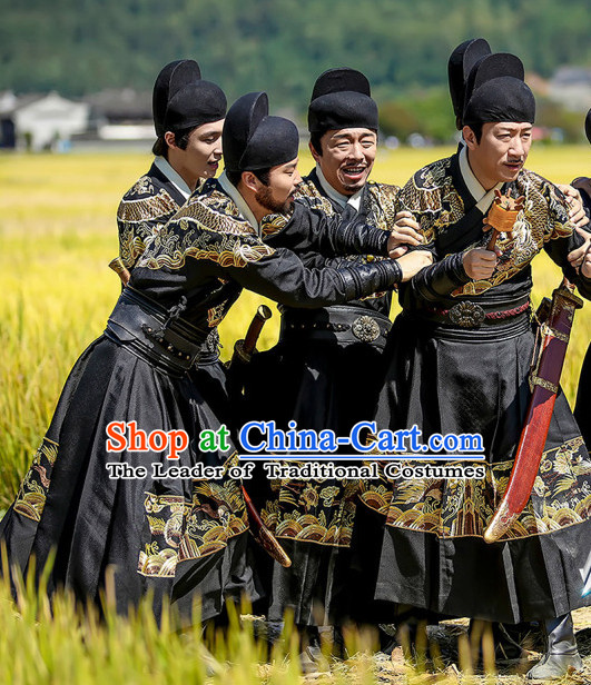 Ancient Chinese Ming Dynasty Bodyguard Costumes and Hat Complete Set for Men