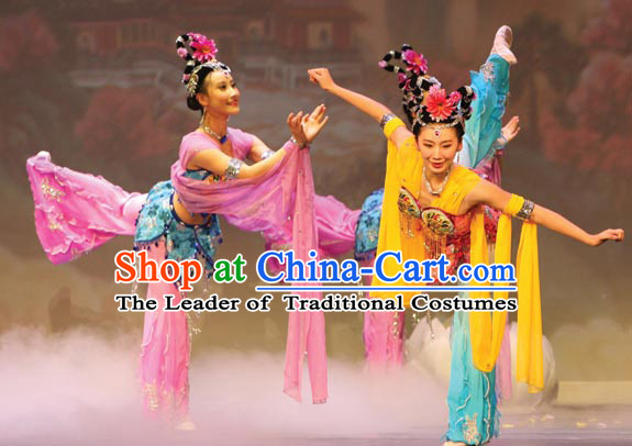 Ancient Chinese Classical Dance Costumes and Headwear Complete Set for Women