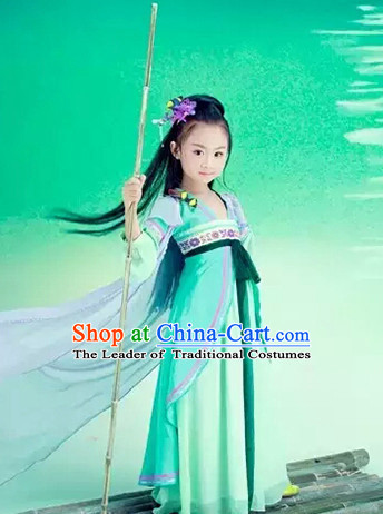 Traditional Chinese Tang Dynasty Dress and Headwear Complete Set for Kids