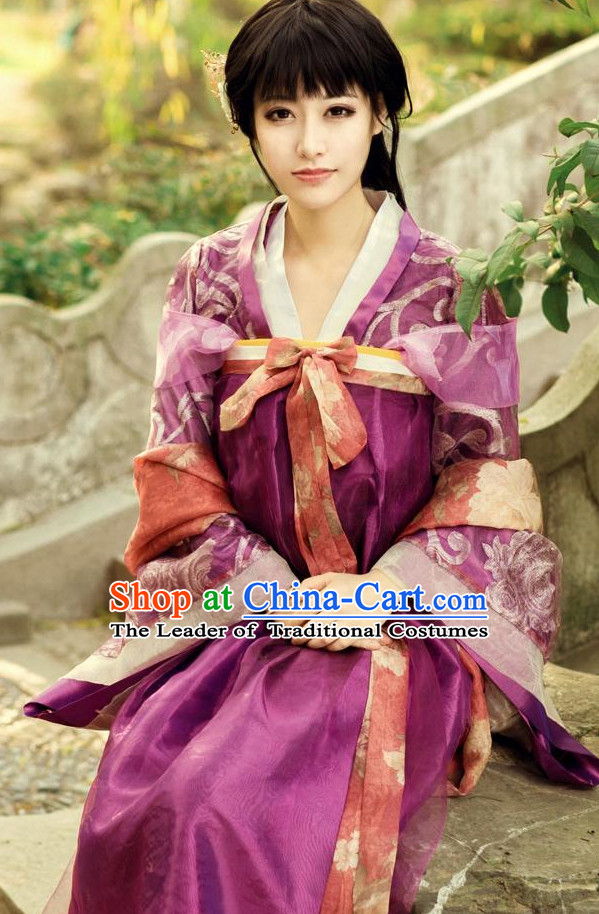 Traditional Chinese Tang Dynasty Dress Costume and Headwear Complete Set for Women