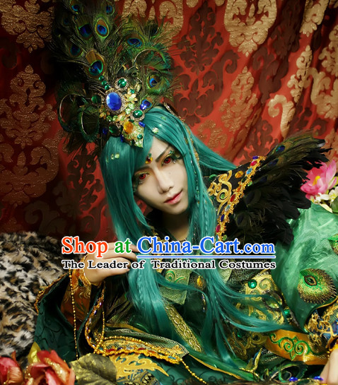 Ancient Chinese Style Weave Long Wigs and Peacock Feather Hair Accessories for Men