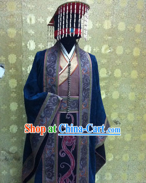 China Ancient Qin Dynasty Qin Chao Emperor Qin Shi Huang Costumes and Hat