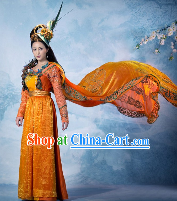 Ancient Chinese Minority National Princess Clothes and Head Accessories Complete Set