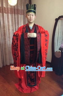 Traditional Chinese Wedding Bridegroom Dresses and Hat Complete Set