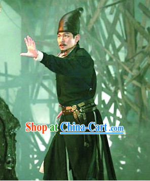 Chinese Black Knight Costume and Hat Complete Set for Men