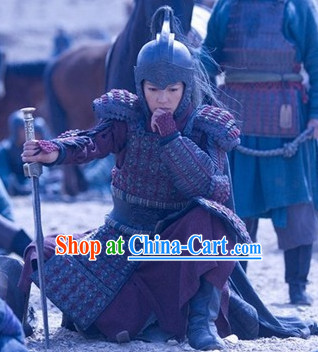 Chinese Ancient General Knight Armor Helmet Costumes Complete Set