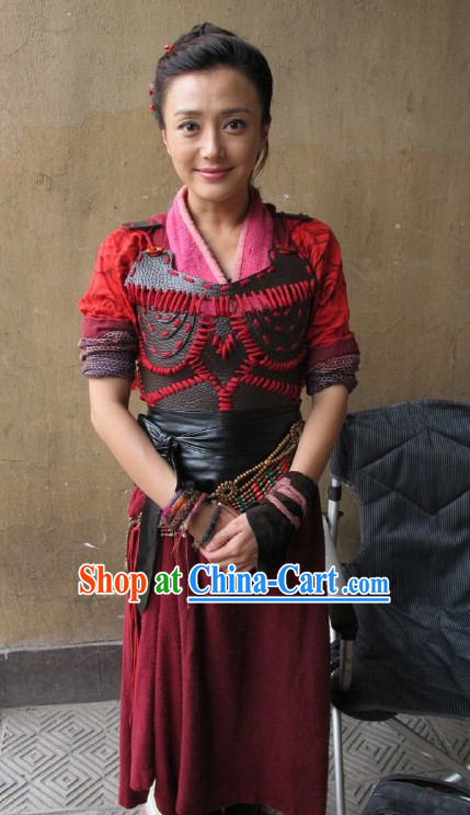 Chinese Fan Lihua Heroine Knight Armor Costumes Complete Set for Women