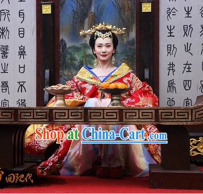 Chinese Classical Imperial Palace Princess Clothing and Hair Accessories Complete Set