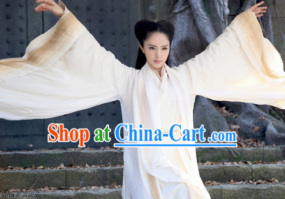 China White Hanfu Film Costumes Complete Set