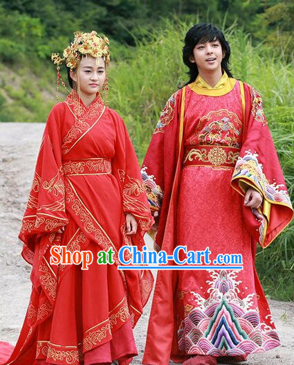 China Wedding Hanfu Film Costume 2 Complete Sets