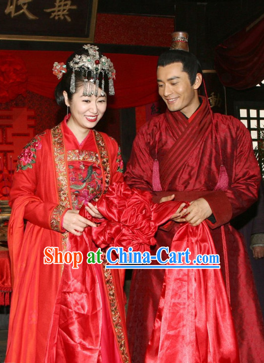 China Red Wedding Dress Film Costume 2 Complete Sets