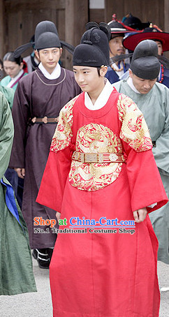 Traditional Korean Prince Costumes and Hat Complete Set
