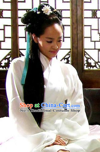 Traditional Korean Princess White Costumes for Girls and Women