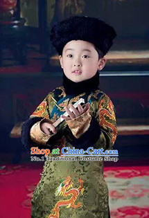 China Qing Manchu Prince Costumes and Hat Complete Set for Children