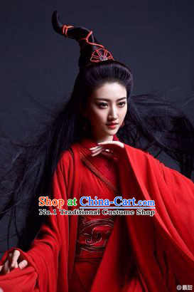 China Red Sexy Film Costumes Complete Set for Girls