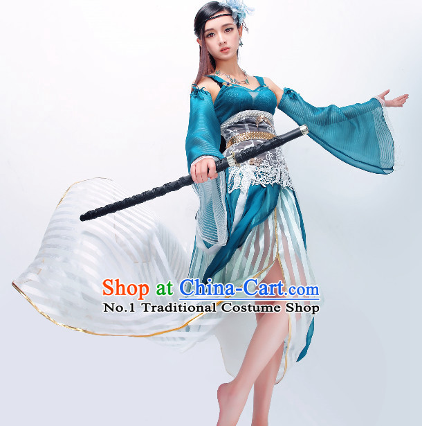 Asian Blue Fairy Costumes Complete Set