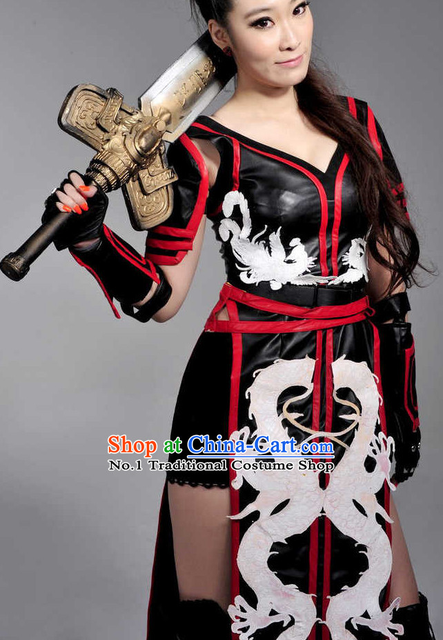 Asian China Female Fighter Cosplay Sexy Costumes for Girls