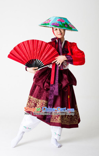 Korean Traditional Fan Dance Costumes and Hat for Women
